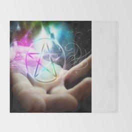 Magickal flaming pentacle Throw Blanket