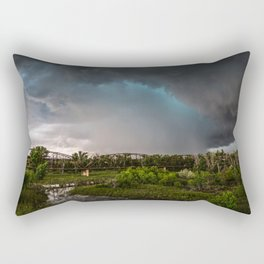The Bridge - Intense Storm Over River Landscape in Texas Rectangular Pillow