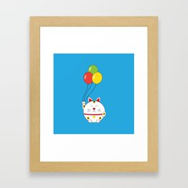 Fat Cat with Balloons Framed Art Print