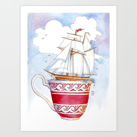 Ship in a Cup Art Print
