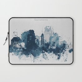 Blue Sacramento watercolor skyline Laptop Sleeve