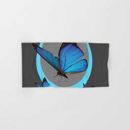 NEON BLUE BUTTERFLIES  & CHARCOAL GREY PATTERN Hand & Bath Towel
