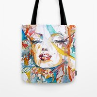 marylin monroe Tote Bags featuring Marylin Monroe by Maria Zborovska