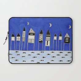 Tiny houses and fish in blue Laptop Sleeve