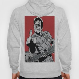 Johnny Cash Zombie Portrait Giving the Finger Print Hoody