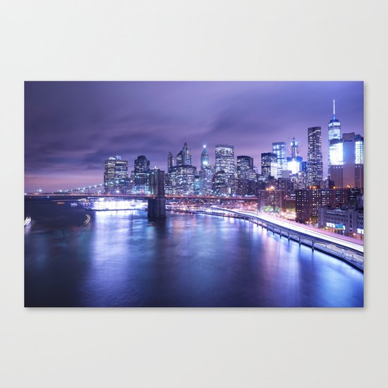 New York City Night Lights : Periwinkle Blue Canvas Print