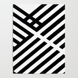 BLACK AND WHITE INTERSECTION PATTERN Poster