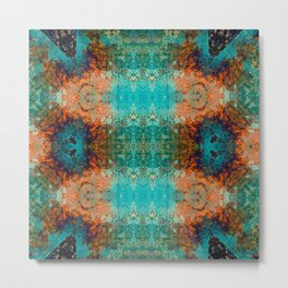 Distressed Southwestern Inspired Turquoise Pattern Design Metal Print