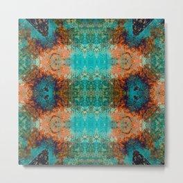 Distressed Southwestern Inspired Turquoise Pattern Design Metal Print