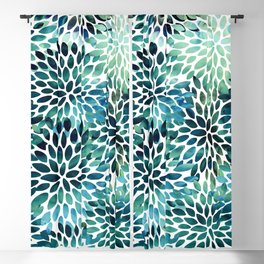 Floral Watercolor, Navy, Blue Teal, Abstract Watercolor Blackout Curtain