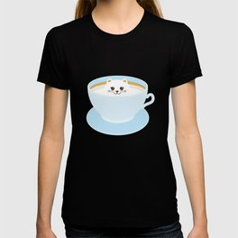 Cute Kawai cat in blue cup T-shirt
