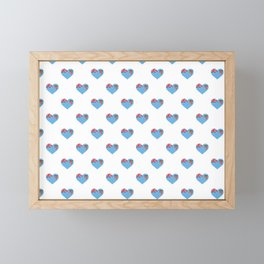 Fiji Love flag Motif Repeat Pattern design background  Framed Mini Art Print