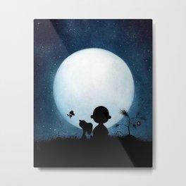 Snoopy Charlie is looking at the moon Metal Print