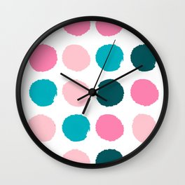 Hugo - abstract modern color palette gender neutral baby nursery dorm college art Wall Clock