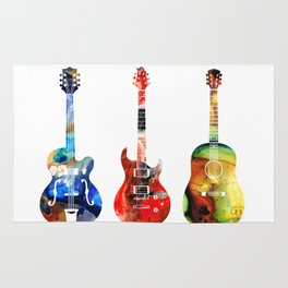 Guitar Threesome - Colorful Guitars By Sharon Cummings Rug