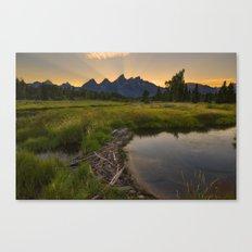 Grant Teton National Park Mountain Sunset Canvas Print