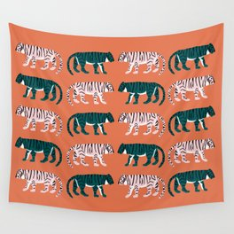 Orange, Blush & Green Tigers Wall Tapestry