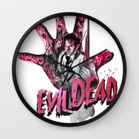 "evil dead Wall Clocks featuring ""EVIL DEAD"" BRUCIE IS BACK by Superdroso"