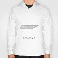 tennessee Hoodies featuring Tennessee map by David Zydd
