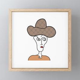 Abstract Drawing Face and Silhouette of Woman Framed Mini Art Print