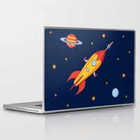 spaceship Laptop & iPad Skins featuring Spaceship! by Doodle Dojo