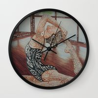 namaste Wall Clocks featuring Namaste by Nicoolers