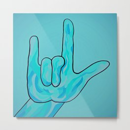 ASL I Love You Baby Blue Metal Print