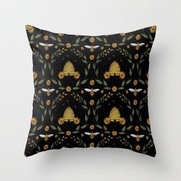 Goldenrod Honey - Black Throw Pillow