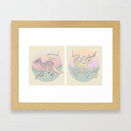 Fox & Fawn Framed Art Print