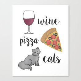 Wine Pizza Cats Canvas Print