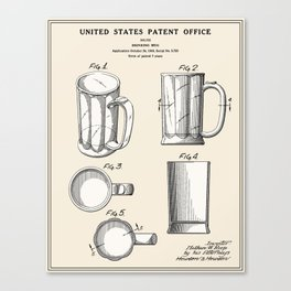 Beer Mug Patent Canvas Print