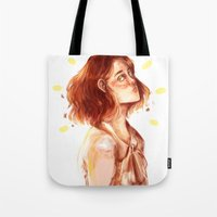 chris evans Tote Bags featuring Lily Evans by Miho