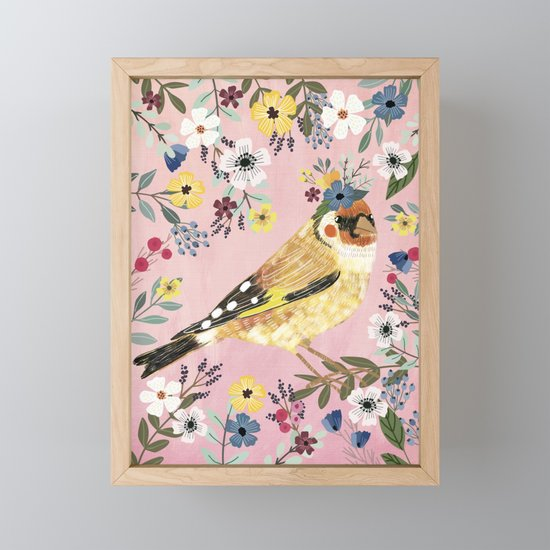 Goldfinch bird with floral crown by miacharro