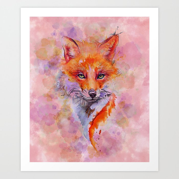 Watercolor colorful Fox Art Print