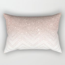 Modern faux rose gold glitter ombre modern chevron stitches pattern Rectangular Pillow
