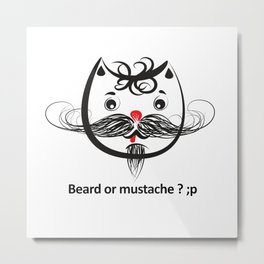 Mustache cat Metal Print