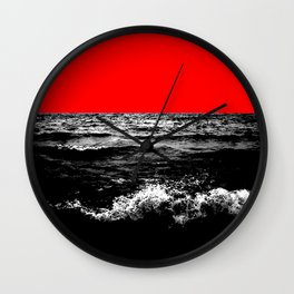 Black Wave w/Electric Red Horizon Wall Clock