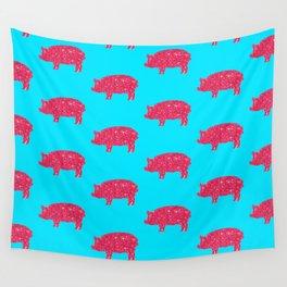 Porky Pig Silhouette Pink Glitter Farm Feminine   Wall Tapestry