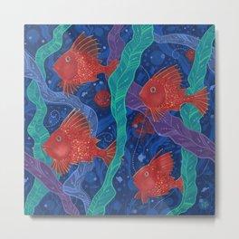 Scarlet Fish, Seaweed, Sea Ocean Animals Underwater World Metal Print