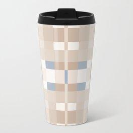 Beige and Blue Color Blocks Geometric Pattern Travel Mug