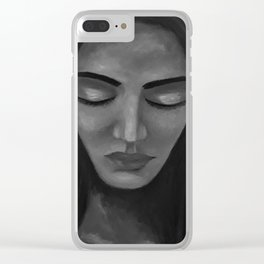 On My Mind by Lu, black-and-white Clear iPhone Case