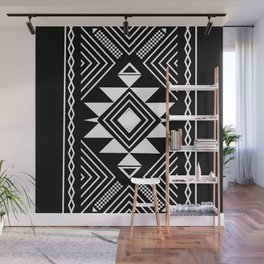 Aztec boho ethnic black and white Wall Mural