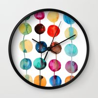planets Wall Clocks featuring Planets by Mille Dørge