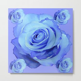 LIGHT BLUE ROSES & BLUE  MODERN ART GARDEN Metal Print