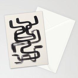 Mid Century Modern Minimalist Abstract Art Brush Strokes Black & White Ink Art Pipe Maze Stationery Cards