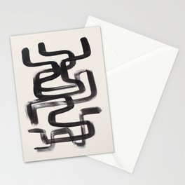 Mid Century Modern Minimalist Abstract Art Brush Strokes Black & White Ink Art Pipe Maze Stationery Cards