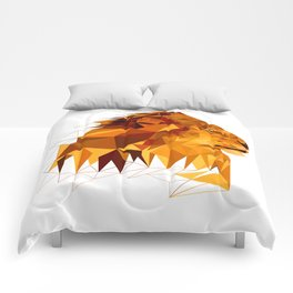 Geometric Lion Wild animals Big cat Low poly art Brown and Yellow Comforters