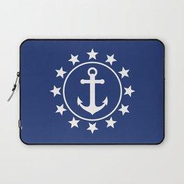 White Anchors & Stars Pattern on Navy Blue Laptop Sleeve