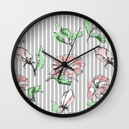 hand drawn flowers, striped Wall Clock