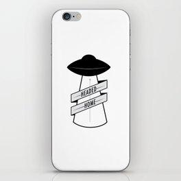 Headed Home UFO: Black & White iPhone Skin